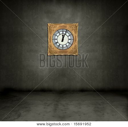Old antique framed clock in a dark grungy room