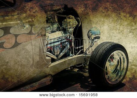 Hot rod in grungy rat rod style