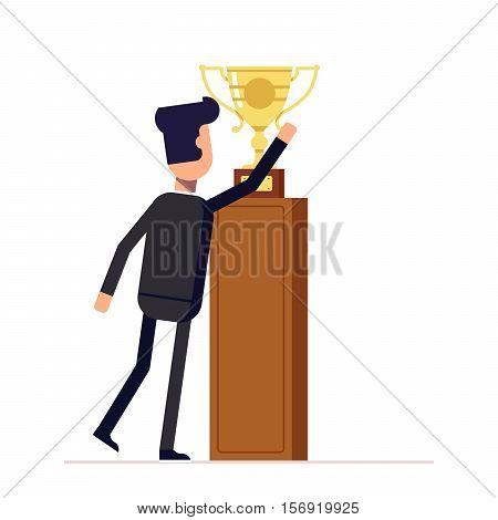 Businessman or manager reaches for the cup. Man in a business suit about to take victory prize. Back view. Vector, illustration EPS10.
