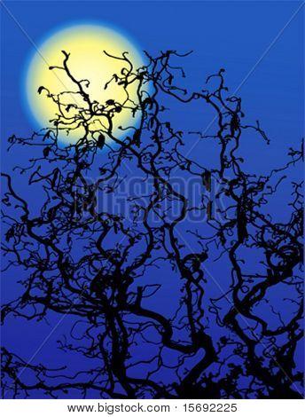 Luna y ramas de los árboles espeluznante vector