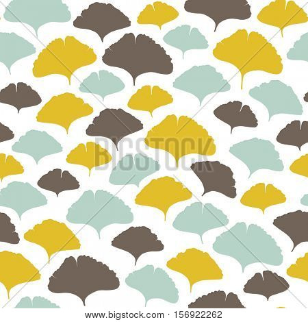 seamless pattern with ginkgo leaves ornament