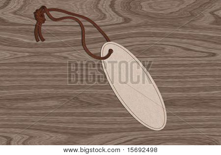 Oval tag with twine on a wooden background with copy-space