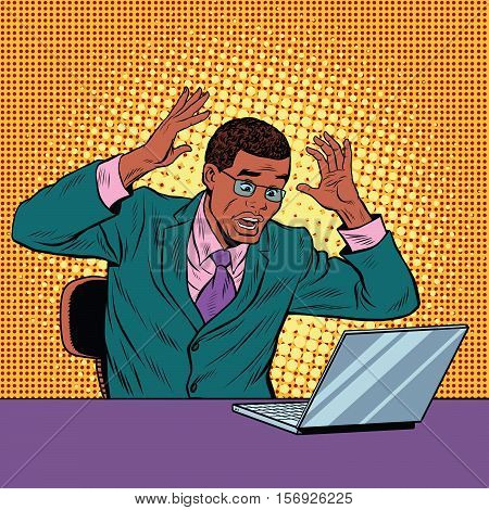 Businessman in panic, reading notebook, pop art retro vector illustration. Bad news on the Internet. African American people