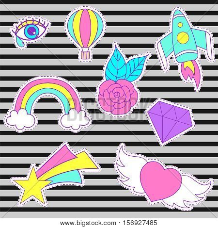 Happy fashion vector patches, retro sweet badges with heart, star, diamond, eye, rainbow, space rocket, rose, air balloon. Cute pink, blue stickers, pins for embroidery