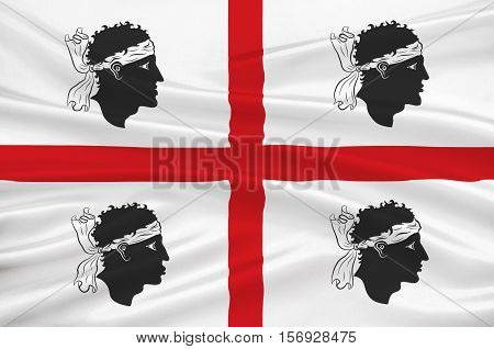 Flag of Sardinia is the second-largest island in the Mediterranean Sea and an autonomous region of Italy. 3d illustration