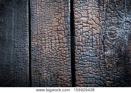 Closeup Of Burnt Black Wooden As Background