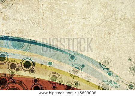 Grungy background with colors and circles