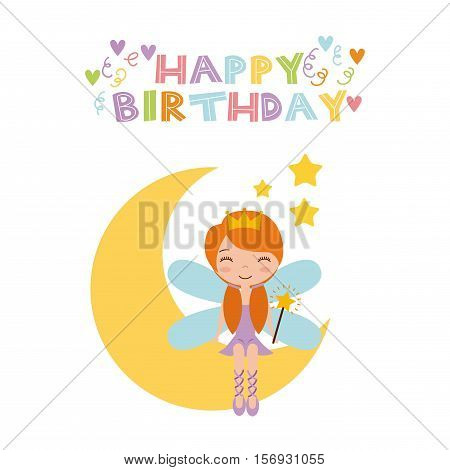 happy birthday card with cute fairy girl on the moon icon over white background. colorful design. vector illustration
