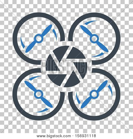 Shutter Drone EPS vector icon. Illustration style is flat iconic bicolor smooth blue symbol.