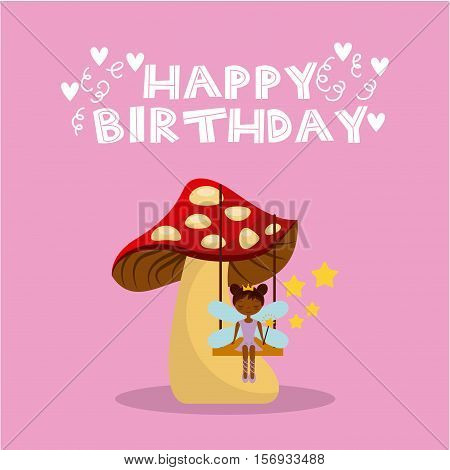 happy birthday card with cute fairy girl icon over pink background. colorful design. vector illustration