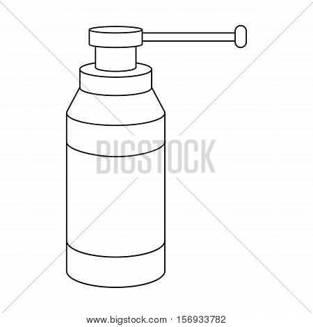 Throat spray icon in outline style isolated on white background. Medicine and hospital symbol vector illustration.