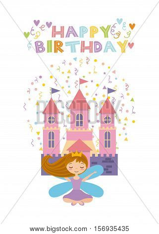 happy birthday card with cute fairy girl and pink castle icon over white background. colorful design. vector illustration
