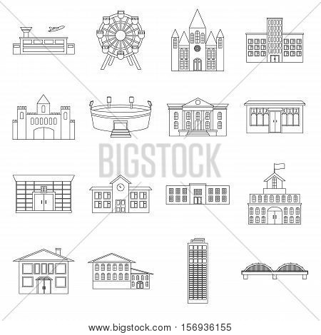 Building set icons in outline style. Big collection of building vector symbol stock