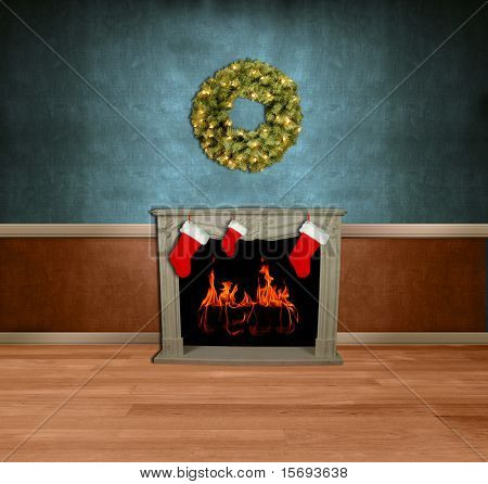 Room with stockings on fireplace and holiday wreath