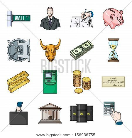Money and finance set icons in cartoon style. Big collection of money and finance vector symbol stock