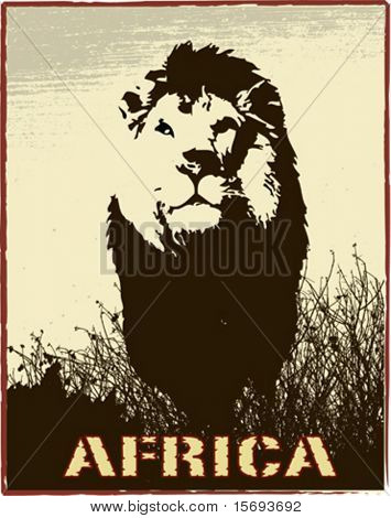 Africa image with lion silhouette - vector