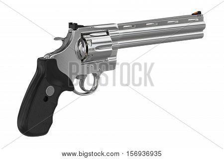 Revolver chrome weapon plastic handle. 3D illustration
