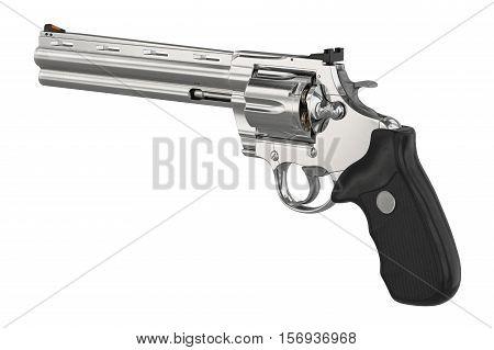 Revolver firearm steel cowboy equipment. 3D illustration