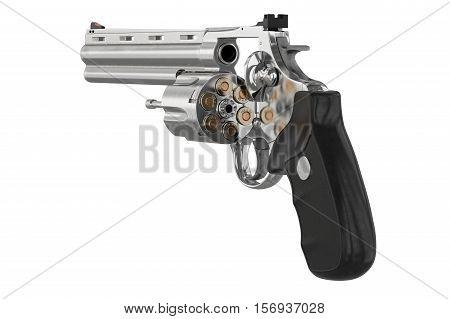 Revolver chrome object cowboy equipment. 3D illustration