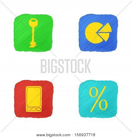 Four Icons on Business Theme in Handdrawn Style with Uneven Edges and Hatching. vector EPS 10