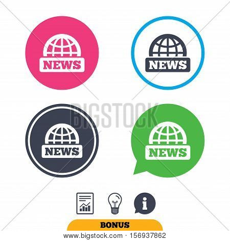 News sign icon. World globe symbol. Report document, information sign and light bulb icons. Vector