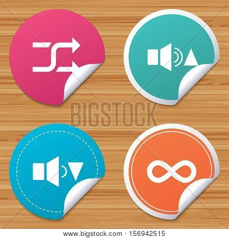 Round stickers or website banners. Player control icons. Sound louder and quieter signs. Dynamic symbol. Shuffle random and repeat loop. Circle badges with bended corner. Vector