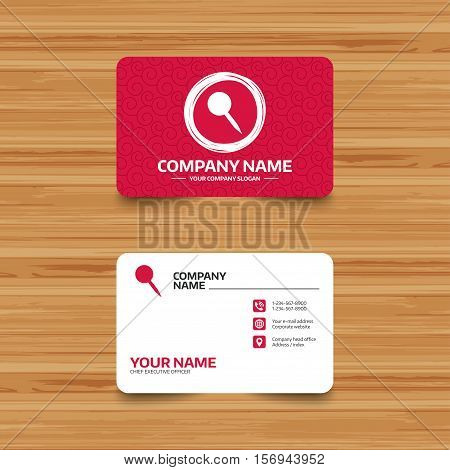 Business card template with texture. Pushpin sign icon. Pin button. Phone, web and location icons. Visiting card  Vector