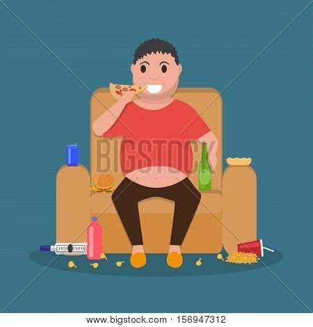 Vector illustration concept unhealthy lifestyle, human laziness. Cartoon fatty husband sitting on couch and eat junk food. Fat man obese on sofa. Flat style. Harmful food for health.