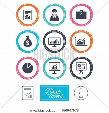 Statistics, accounting icons. Charts, presentation and pie chart signs. Analysis, report and business case symbols. Report document, information icons. Vector