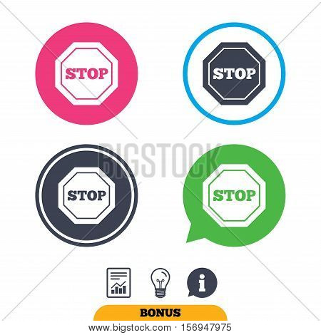 Traffic stop sign icon. Caution symbol. Report document, information sign and light bulb icons. Vector