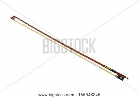 One violin bow isolated on white background