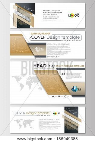 Social media and email headers set, modern banners. Business templates. Cover design template, easy editable, abstract flat layout in popular sizes. Golden technology background, connection structure with connecting dots and lines, science vector.