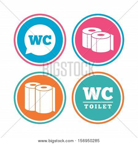 Toilet paper icons. Gents and ladies room signs. Paper towel or kitchen roll. Speech bubble symbol. Colored circle buttons. Vector