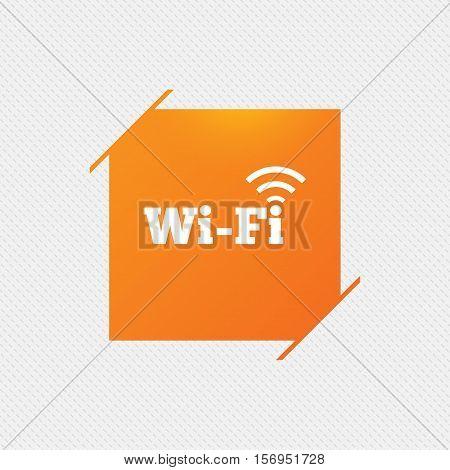 Free wifi sign. Wifi symbol. Wireless Network icon. Wifi zone. Orange square label on pattern. Vector