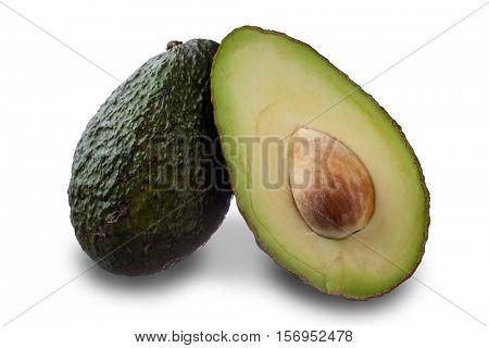 Extreme close-up image of avocado on white background