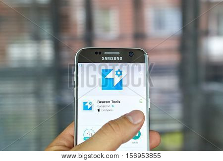 MONTREAL, CANADA - JUNE 23, 2016 : Google Beacon Tools app on Samsung S7. The app lets you register your Bluetooth Low Energy beacons with the Google Beacon Registry and create small attachments