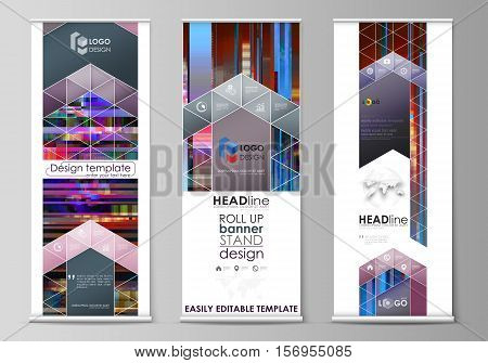 Set of roll up banner stands, flat design templates, abstract geometric style, modern business concept, corporate vertical vector flyers, flag banner layouts. Glitched background made of colorful pixel mosaic. Digital decay, signal error, television fail.