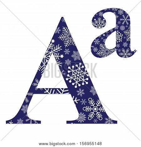 Uppercase and lowercase the first letter of the English alphabet with a winter pattern of snowflakes vector