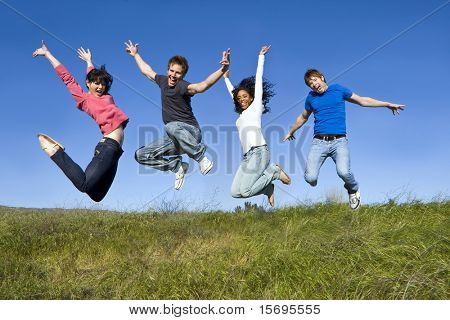 Group of friends jumping in the air