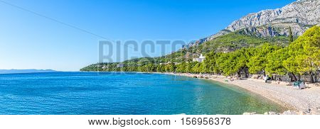 TUCEPI, CROATIA - October 05, 2016 Last tourists enjoying on the town beach.