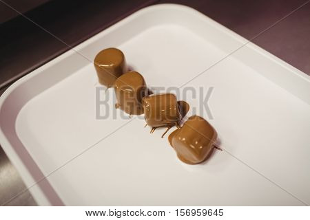 Chocolate coated marshmallows arranged on tray in kitchen