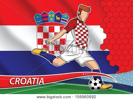 Vector illustration of football player shooting on goal. Soccer team player in uniform with state national flag of Croatia.