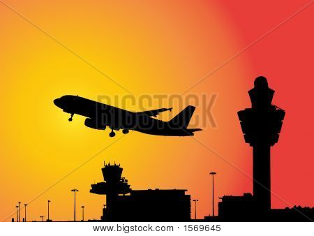 Plane Flying Above Airport