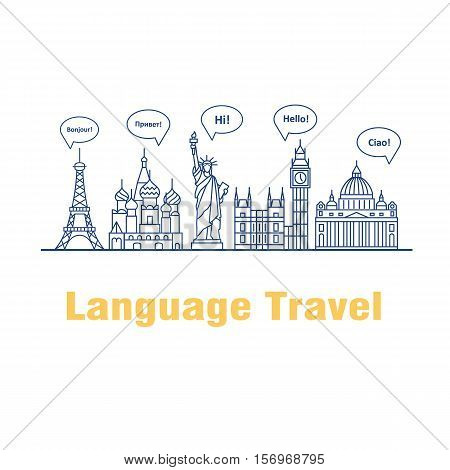 Vector logo for the language courses and schools. Modern linear concept with speech bubbles in different languages and the worlds landmarks.