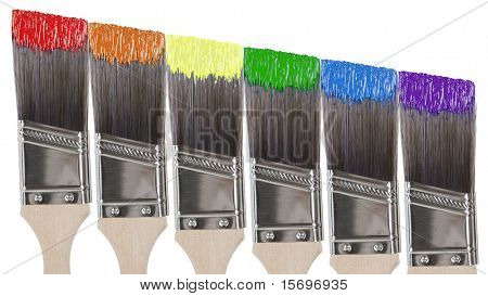 Six paint brushes with colors of the rainbow