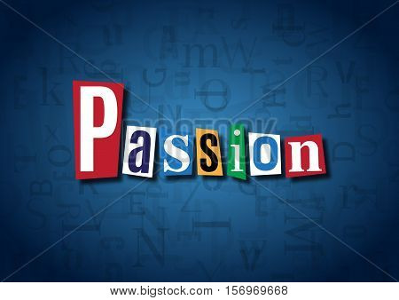 The word Passion made from cutout letters