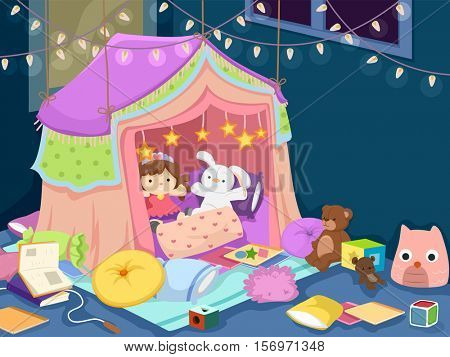 Colorful Illustration of a Playroom with an Indoor Tent Filled with Dolls, Plushies, and Stuffed Toys
