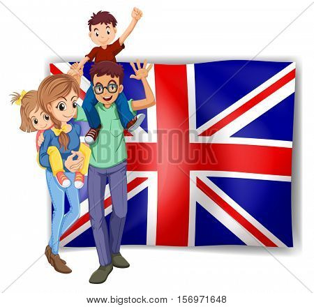 British family and flag in background illustration