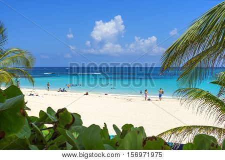 ISLA CULEBRA PUERTO RICO - SEPTEMBER 24 2016: Dependable sunshine soft white sand and calm turquoise-blue waters make Flamenco Beach on the Puerto Rican island of Isla Culebra one of the top-rated beaches in the world.