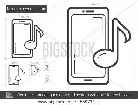 Music player app vector line icon isolated on white background. Music player app line icon for infographic, website or app. Scalable icon designed on a grid system.